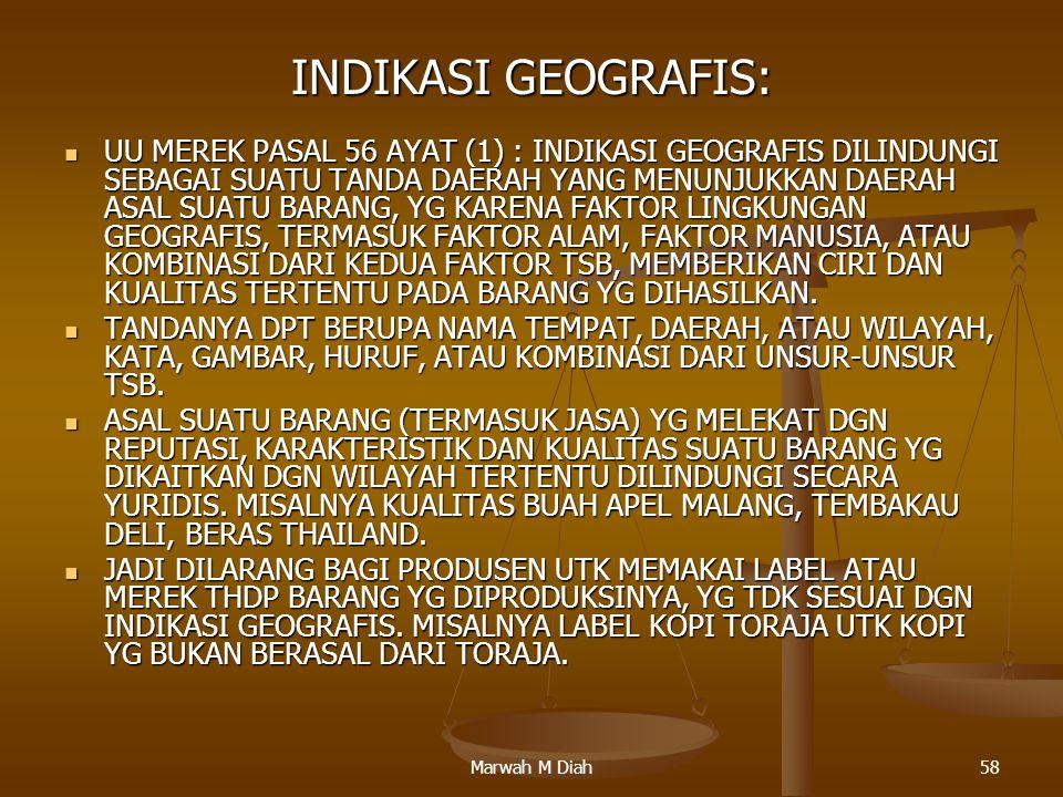 INDIKASI GEOGRAFIS: