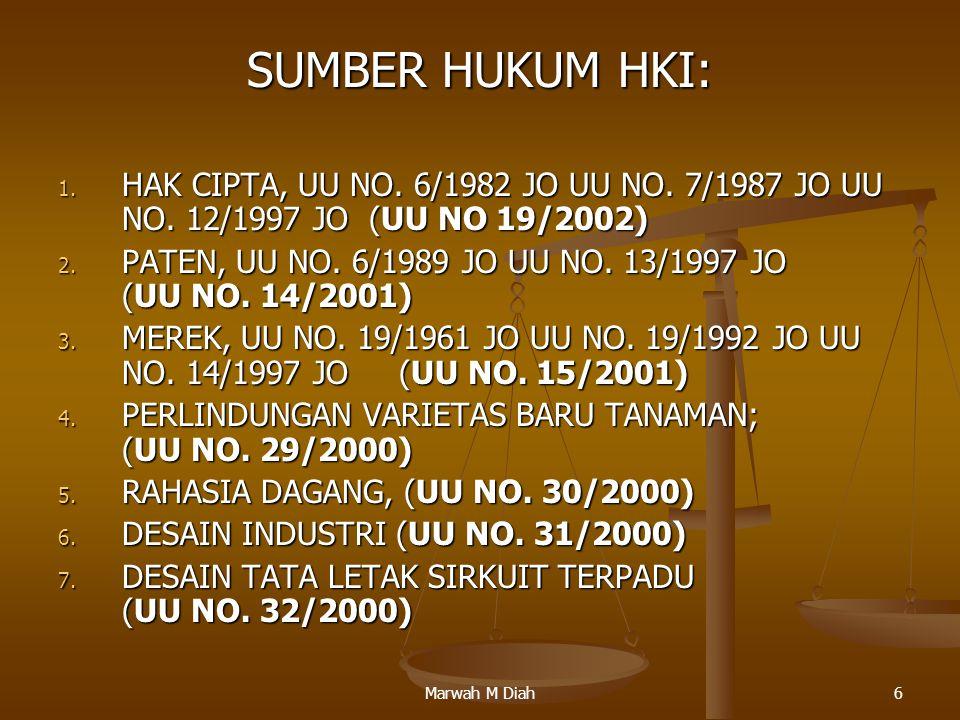 SUMBER HUKUM HKI: HAK CIPTA, UU NO. 6/1982 JO UU NO. 7/1987 JO UU NO. 12/1997 JO (UU NO 19/2002)