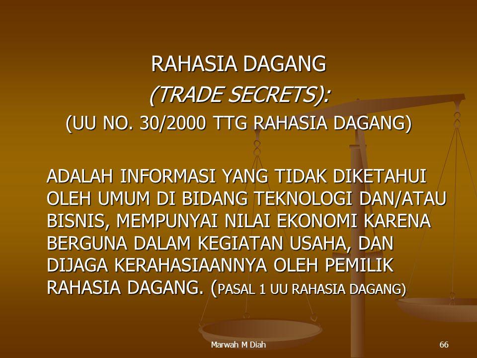(UU NO. 30/2000 TTG RAHASIA DAGANG)
