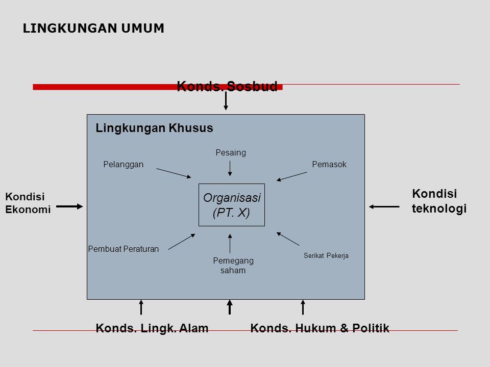 Konds. Sosbud LINGKUNGAN UMUM Lingkungan Khusus Organisasi (PT. X)