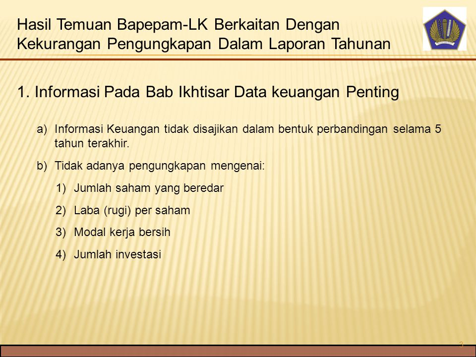 Informasi Pada Bab Ikhtisar Data keuangan Penting
