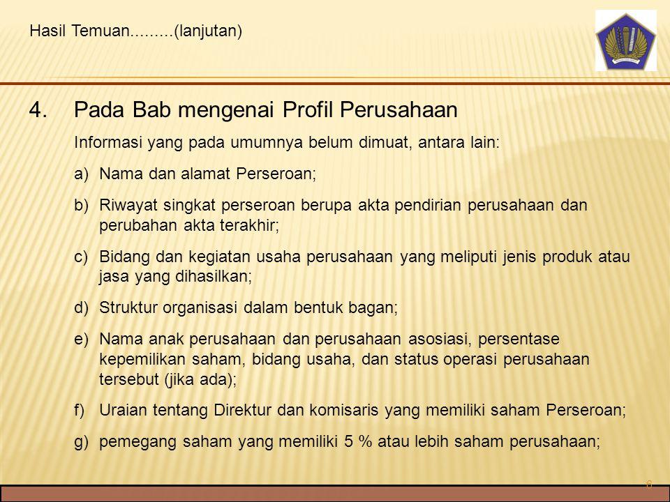 Pada Bab mengenai Profil Perusahaan