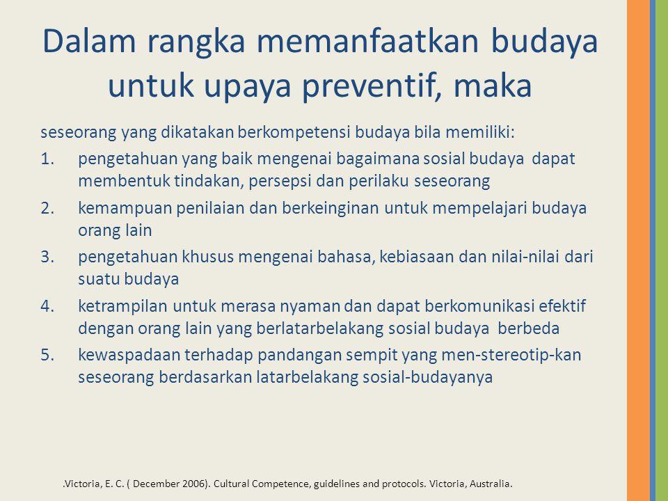 Dalam rangka memanfaatkan budaya untuk upaya preventif, maka