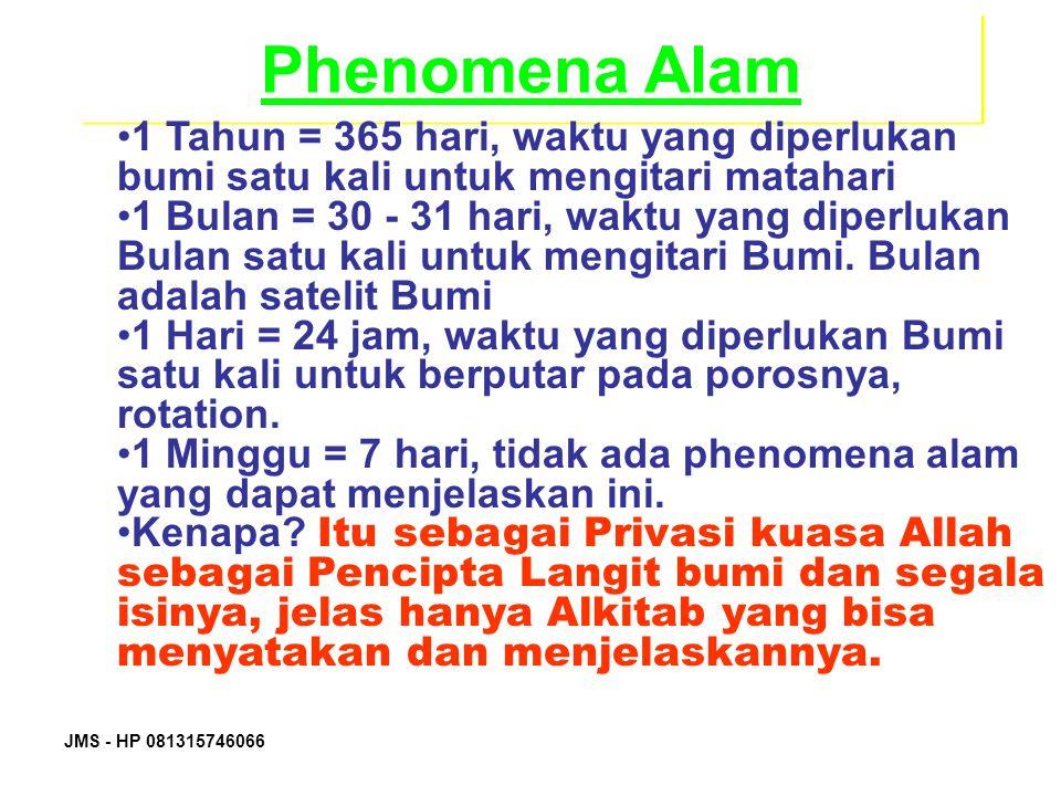 Phenomena Alam 1 Tahun = 365 hari, waktu yang diperlukan bumi satu kali untuk mengitari matahari.