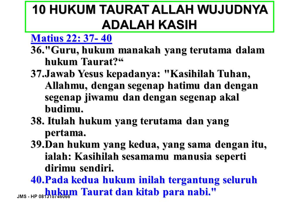 10 HUKUM TAURAT ALLAH WUJUDNYA ADALAH KASIH