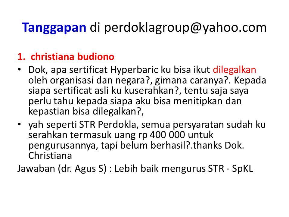 Tanggapan di perdoklagroup@yahoo.com