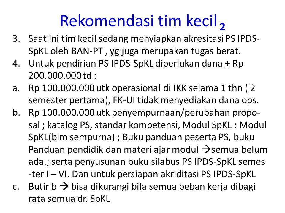 Rekomendasi tim kecil 2 Saat ini tim kecil sedang menyiapkan akresitasi PS IPDS-SpKL oleh BAN-PT , yg juga merupakan tugas berat.