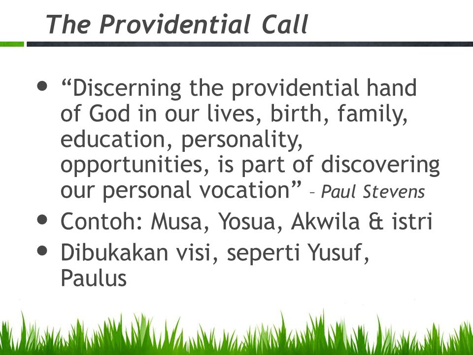 The Providential Call