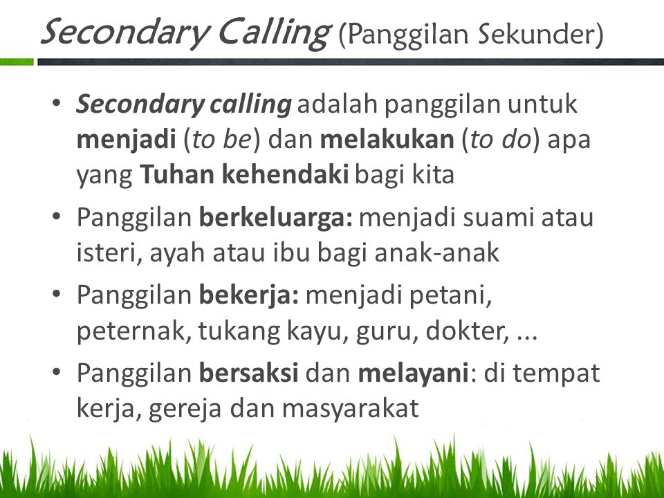 Secondary Calling (Panggilan Sekunder)