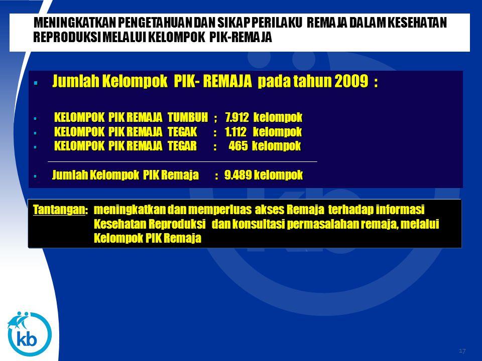 Jumlah Kelompok PIK- REMAJA pada tahun 2009 :