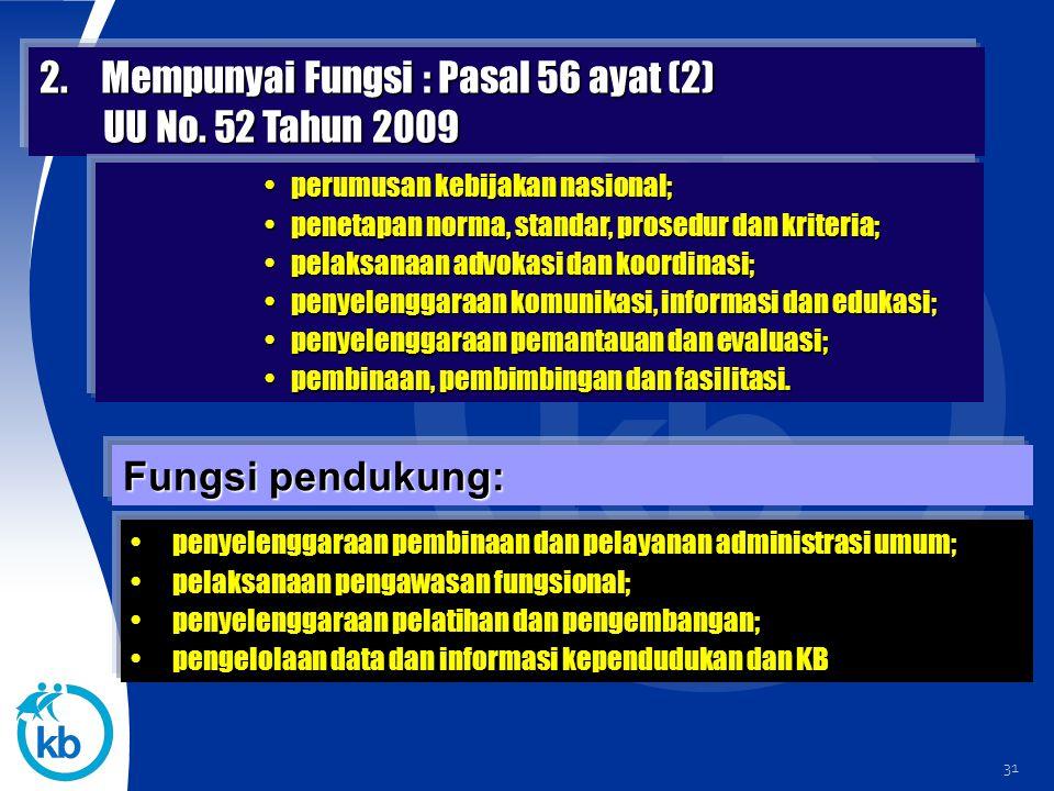 2. Mempunyai Fungsi : Pasal 56 ayat (2) UU No. 52 Tahun 2009