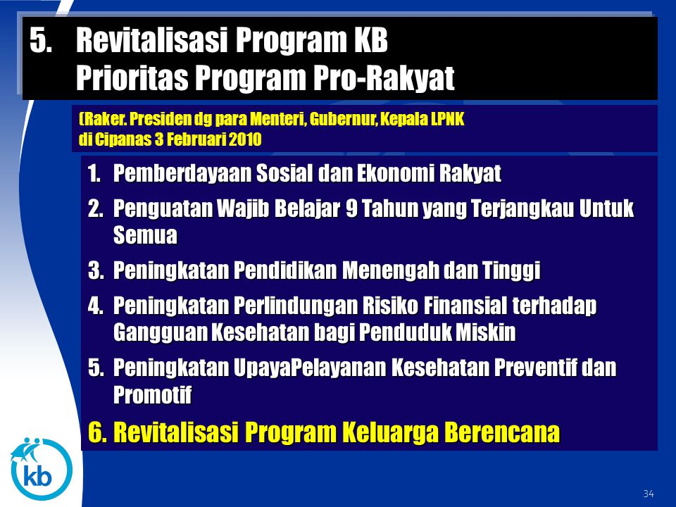 Revitalisasi Program KB Prioritas Program Pro-Rakyat