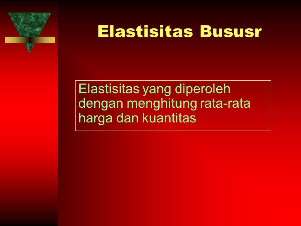 Elastisitas Bususr Elastisitas yang diperoleh dengan menghitung rata-rata harga dan kuantitas
