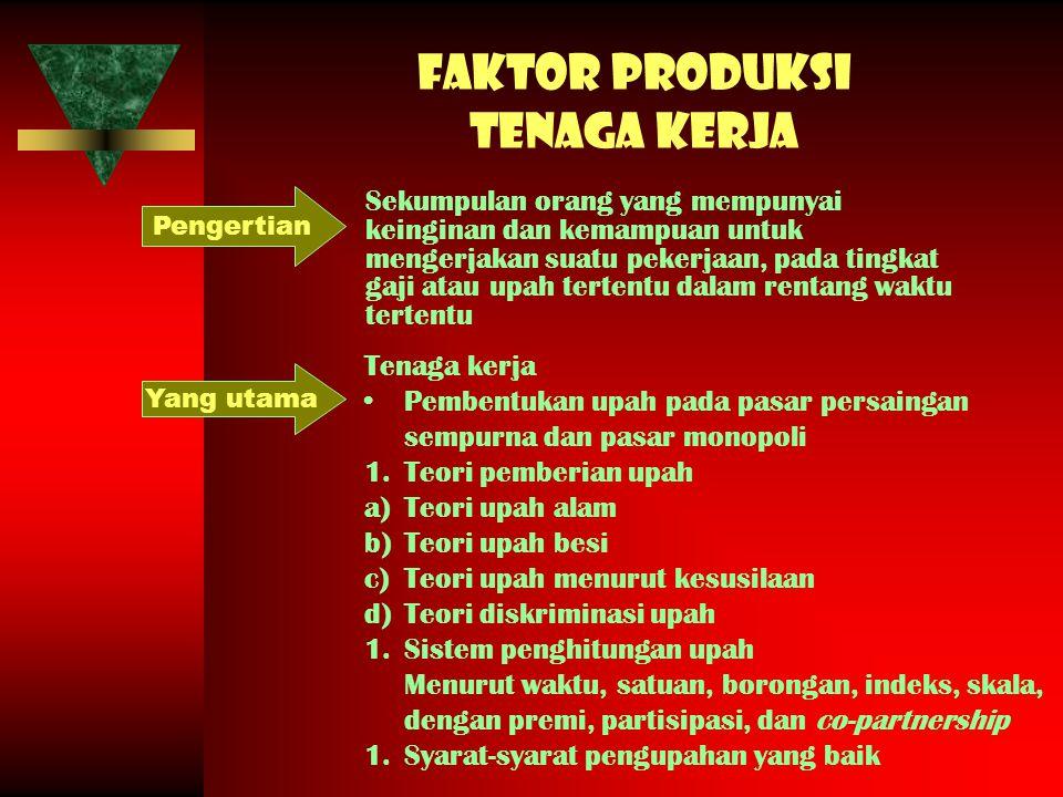 Faktor produksi tenaga kerja