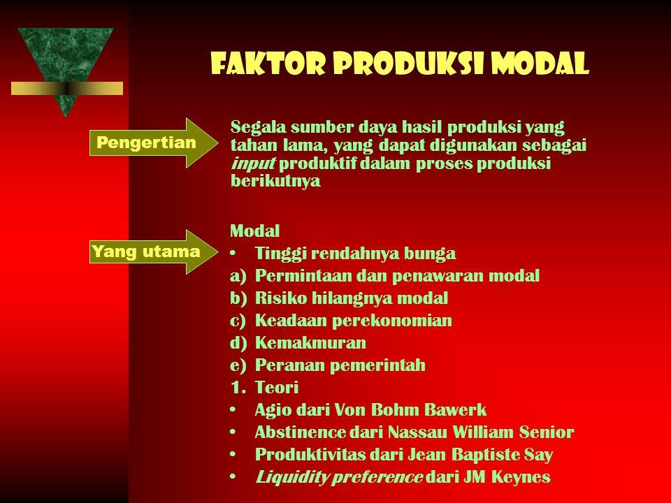 Faktor produksi modal Pengertian.
