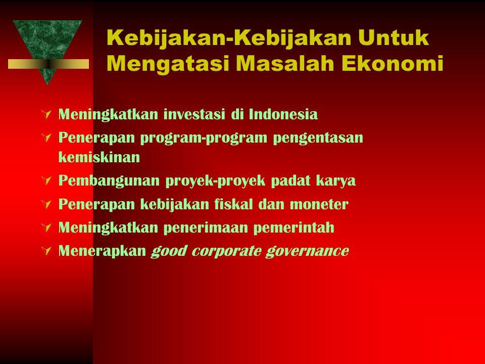 Kebijakan-Kebijakan Untuk Mengatasi Masalah Ekonomi
