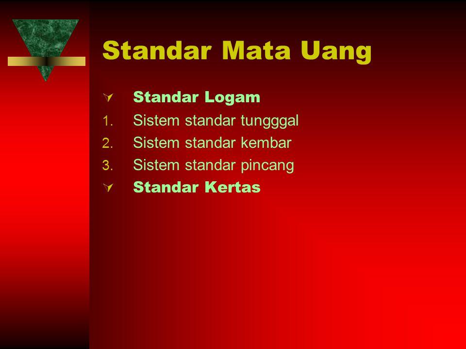 Standar Mata Uang Standar Logam Sistem standar tungggal