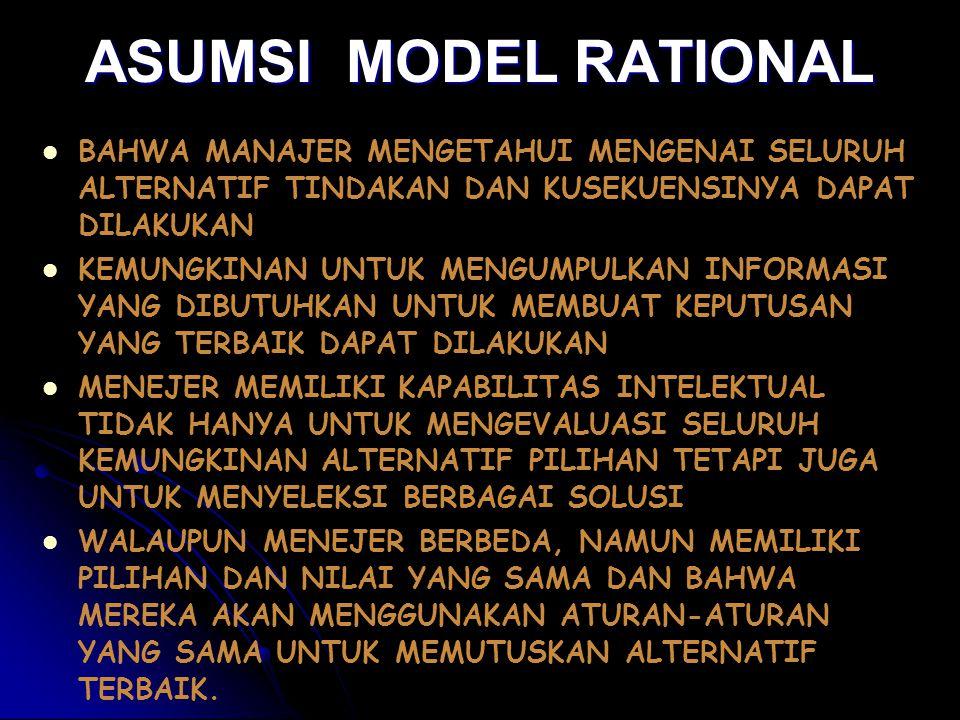 ASUMSI MODEL RATIONAL BAHWA MANAJER MENGETAHUI MENGENAI SELURUH ALTERNATIF TINDAKAN DAN KUSEKUENSINYA DAPAT DILAKUKAN.