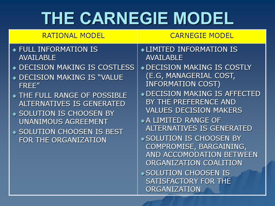 THE CARNEGIE MODEL RATIONAL MODEL CARNEGIE MODEL