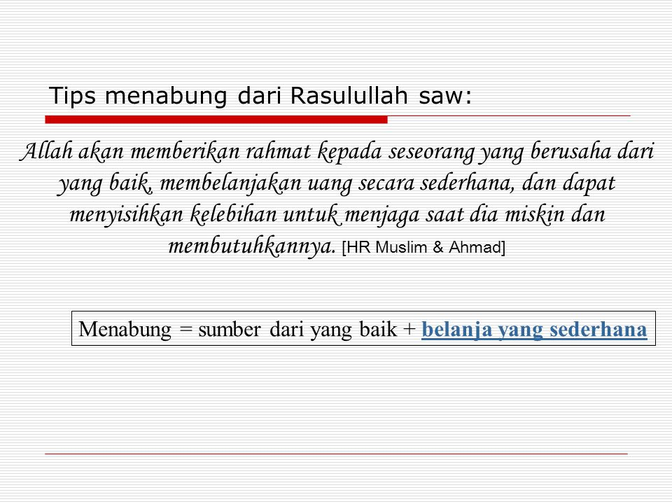 Tips menabung dari Rasulullah saw: