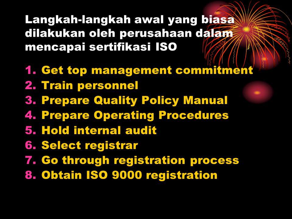 Langkah-langkah awal yang biasa dilakukan oleh perusahaan dalam mencapai sertifikasi ISO