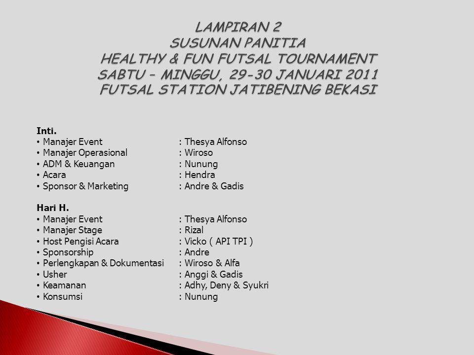 LAMPIRAN 2 SUSUNAN PANITIA HEALTHY & FUN FUTSAL TOURNAMENT SABTU – MINGGU, 29-30 JANUARI 2011 FUTSAL STATION JATIBENING BEKASI