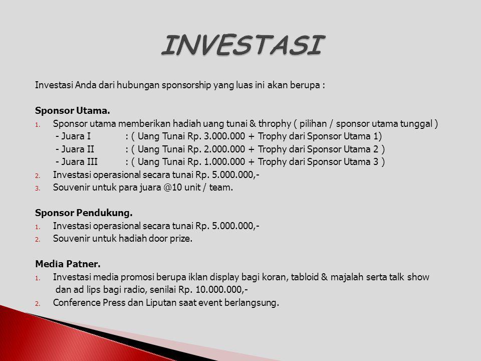 INVESTASI Investasi Anda dari hubungan sponsorship yang luas ini akan berupa : Sponsor Utama.