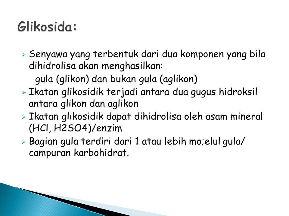 Glikosida: Senyawa yang terbentuk dari dua komponen yang bila dihidrolisa akan menghasilkan: gula (glikon) dan bukan gula (aglikon)