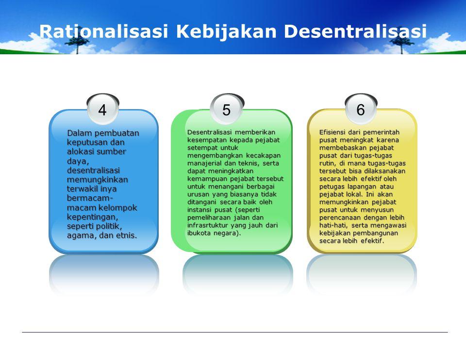 Rationalisasi Kebijakan Desentralisasi