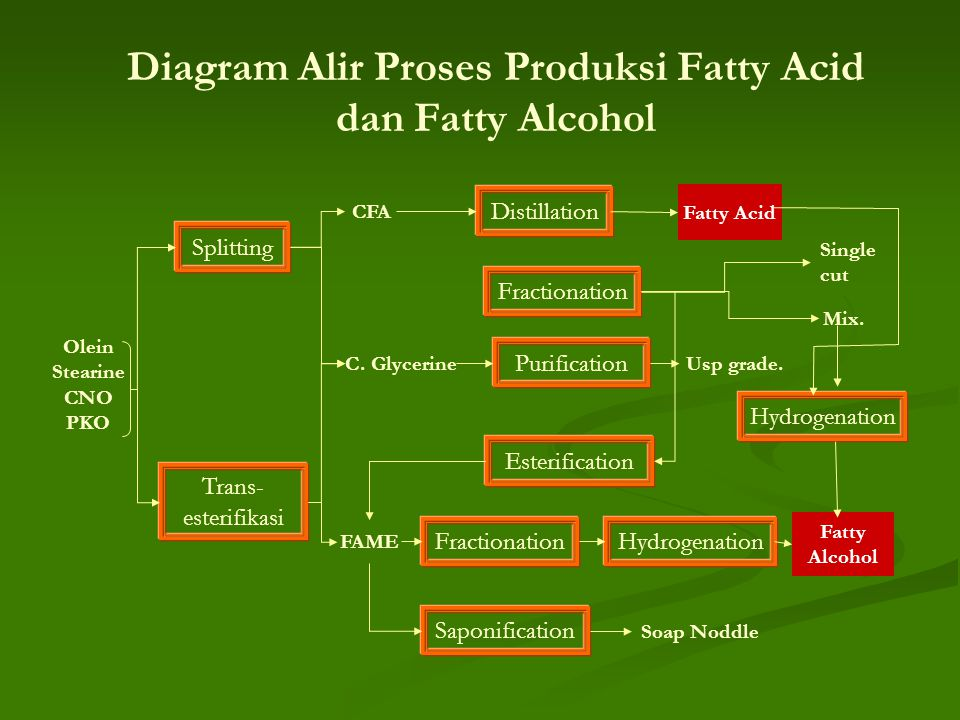 Diagram Alir Proses Produksi Fatty Acid dan Fatty Alcohol