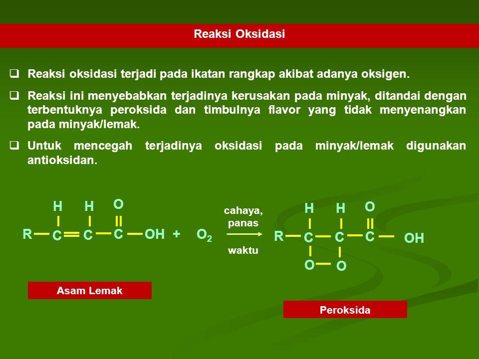 C R O OH H + O2 Reaksi Oksidasi