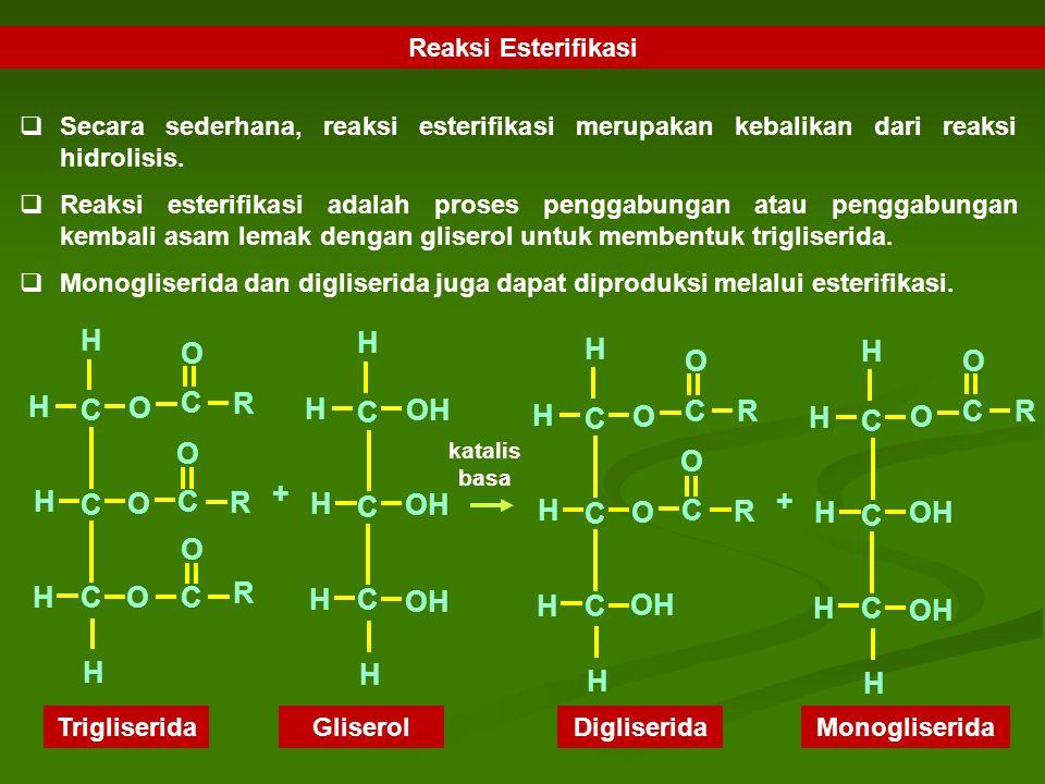 H R C O OH + Reaksi Esterifikasi