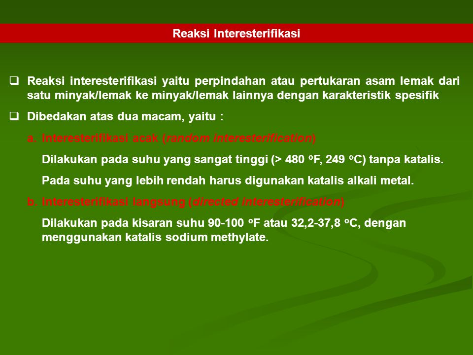 Reaksi Interesterifikasi