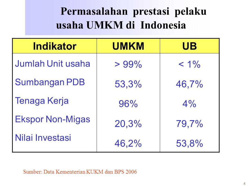 Permasalahan prestasi pelaku usaha UMKM di Indonesia
