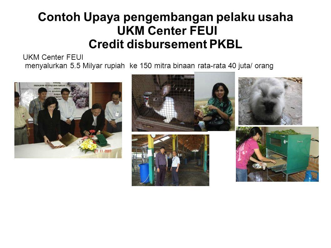 Contoh Upaya pengembangan pelaku usaha UKM Center FEUI Credit disbursement PKBL