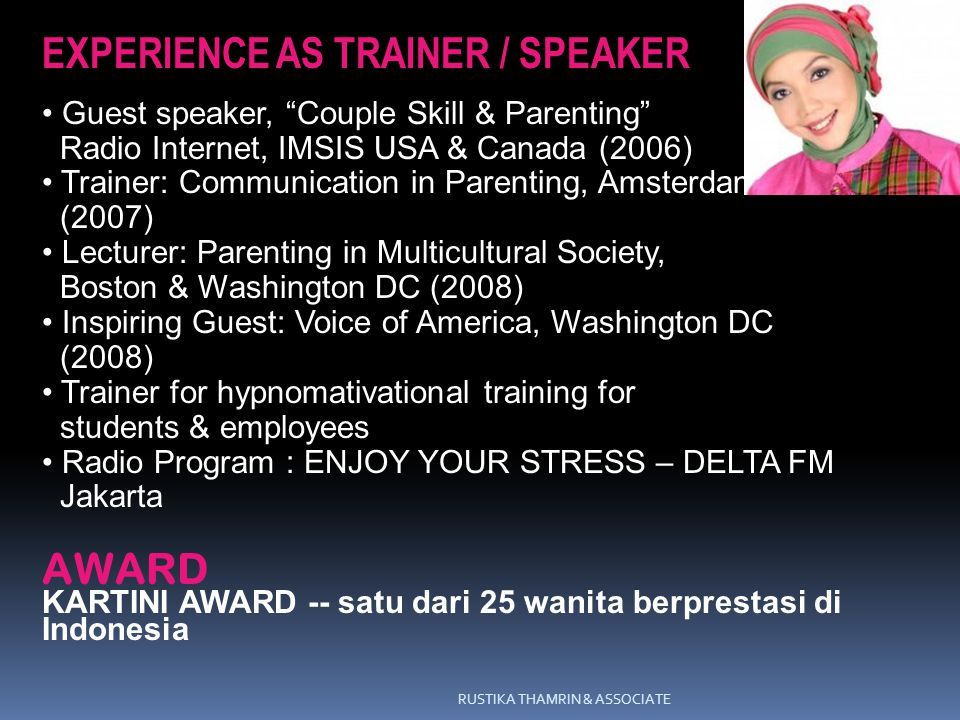 EXPERIENCE AS TRAINER / SPEAKER
