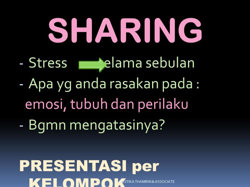 SHARING Stress selama sebulan Apa yg anda rasakan pada :