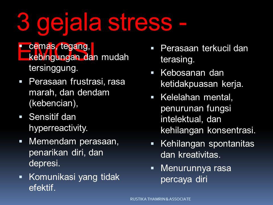 3 gejala stress - EMOSI cemas, tegang, kebingungan dan mudah tersinggung. Perasaan frustrasi, rasa marah, dan dendam (kebencian),