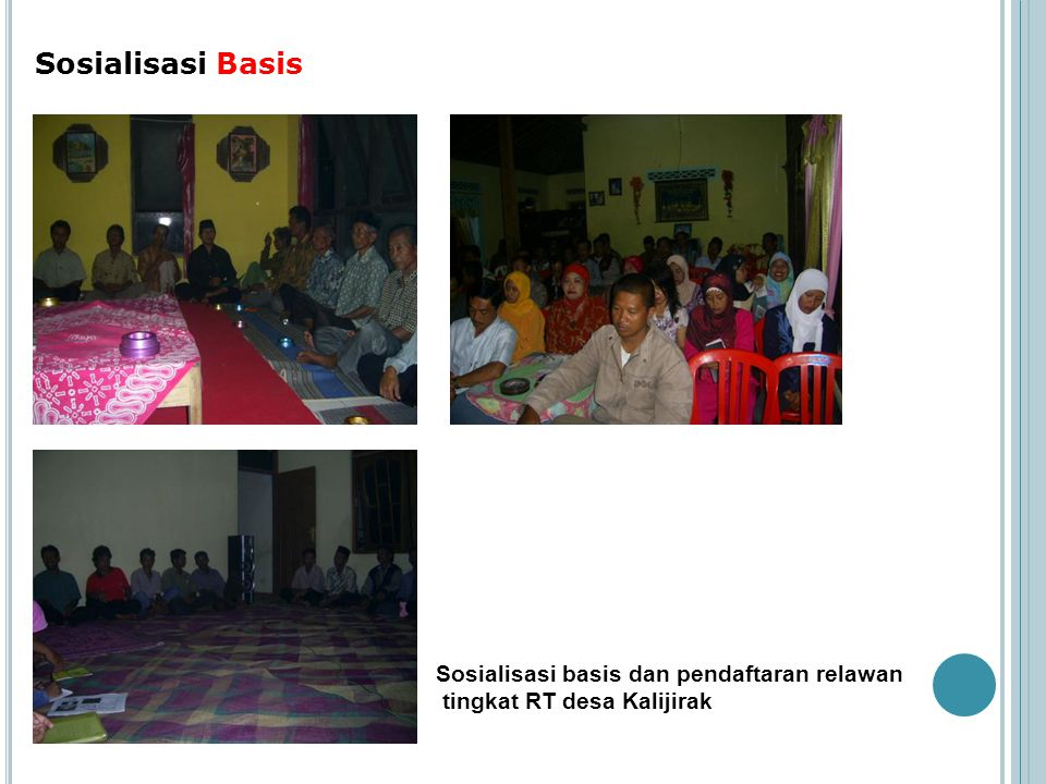 Sosialisasi Basis Sosialisasi basis dan pendaftaran relawan