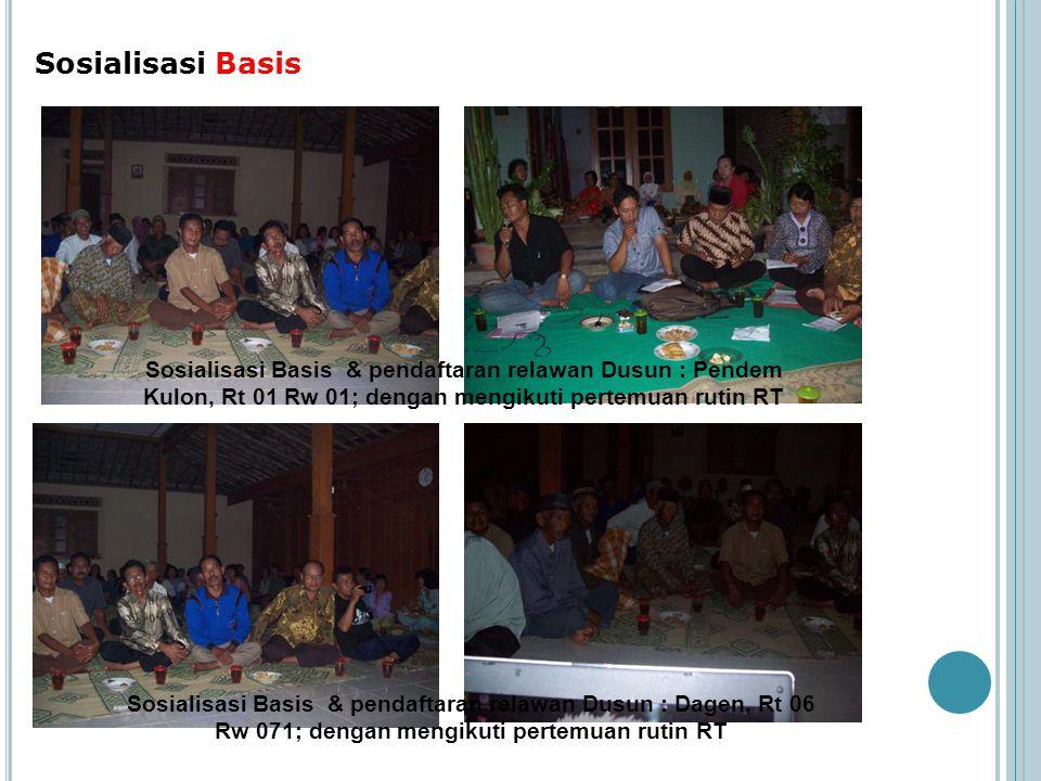 Sosialisasi Basis Sosialisasi Basis & pendaftaran relawan Dusun : Pendem Kulon, Rt 01 Rw 01; dengan mengikuti pertemuan rutin RT.