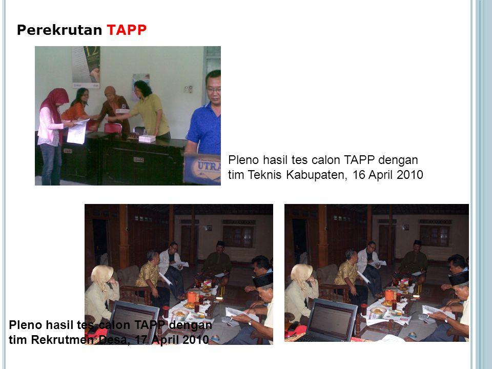 Perekrutan TAPP Pleno hasil tes calon TAPP dengan tim Teknis Kabupaten, 16 April 2010.