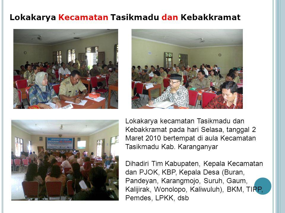 Lokakarya Kecamatan Tasikmadu dan Kebakkramat