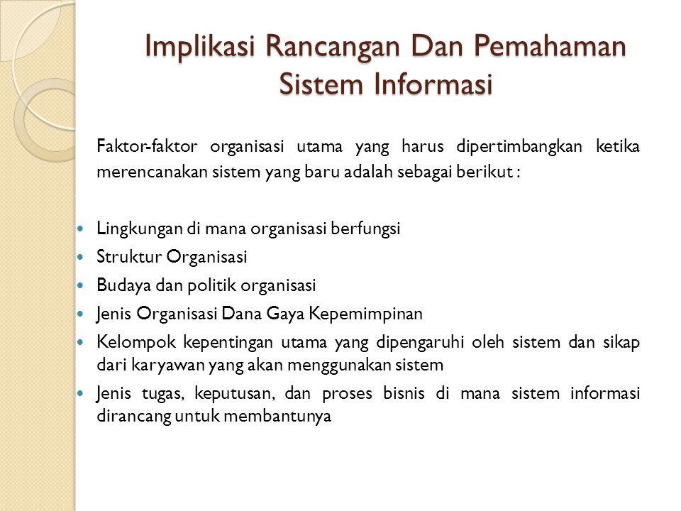 Implikasi Rancangan Dan Pemahaman Sistem Informasi