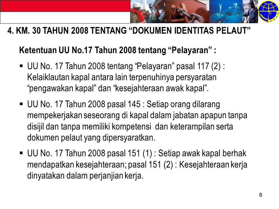 4. KM. 30 TAHUN 2008 TENTANG DOKUMEN IDENTITAS PELAUT