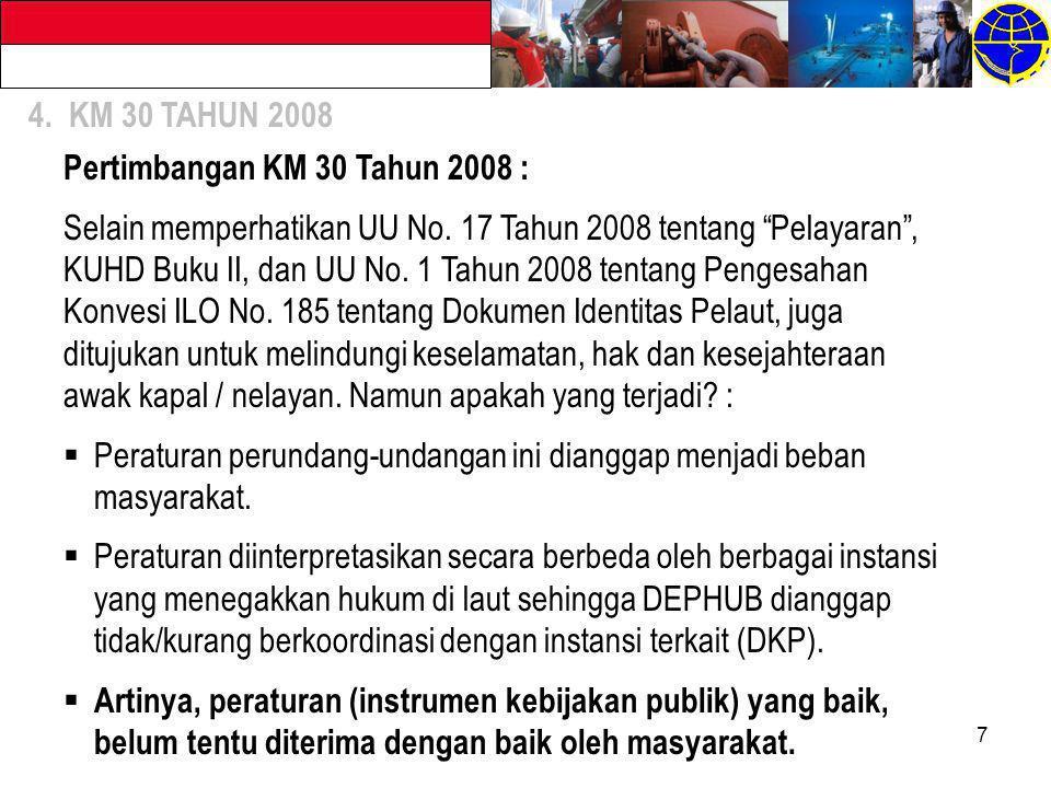 Pertimbangan KM 30 Tahun 2008 :