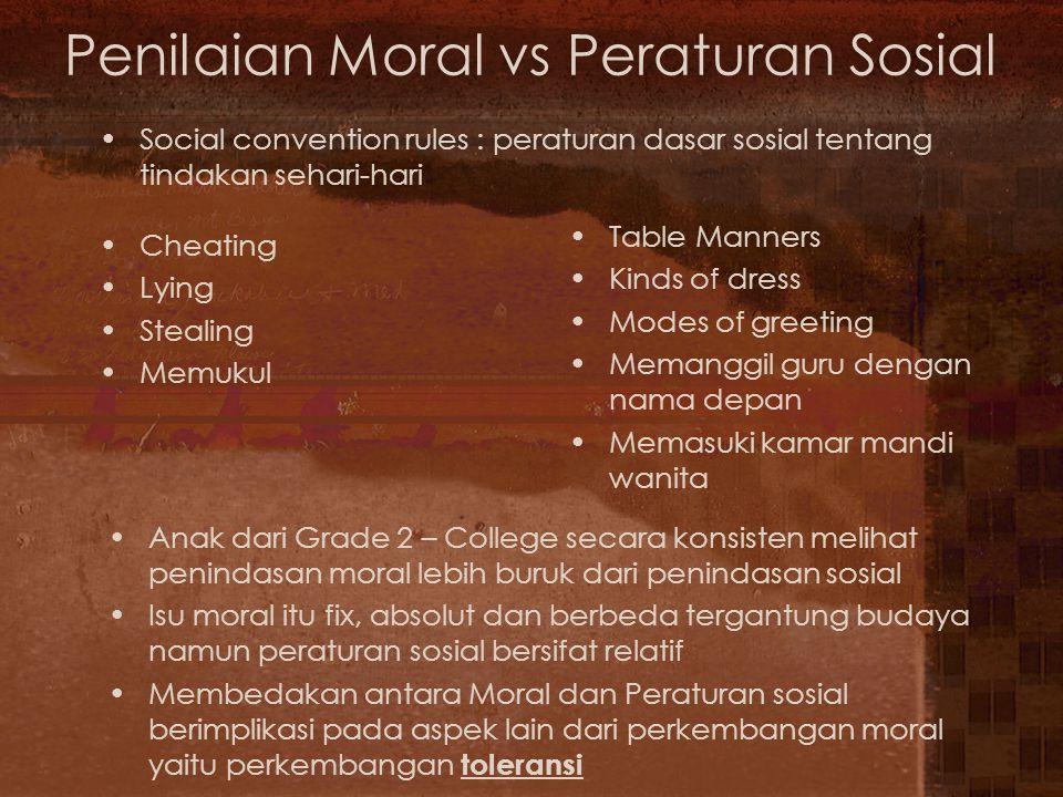 Penilaian Moral vs Peraturan Sosial