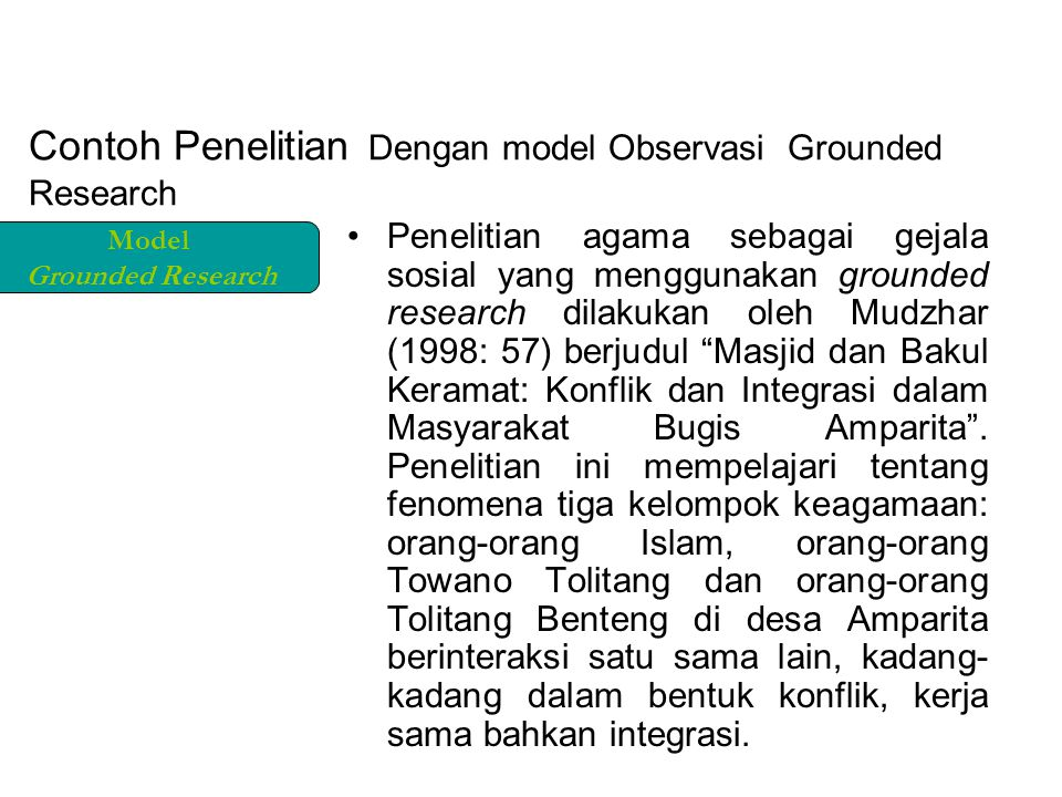 Contoh Penelitian Dengan model Observasi Grounded Research