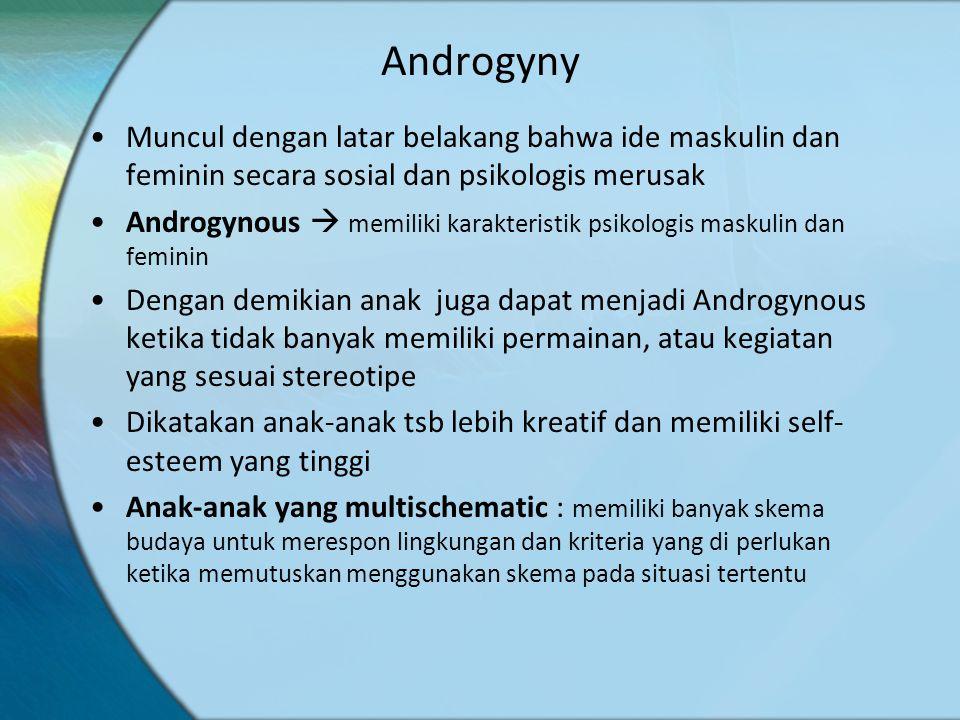 Androgyny Muncul dengan latar belakang bahwa ide maskulin dan feminin secara sosial dan psikologis merusak.