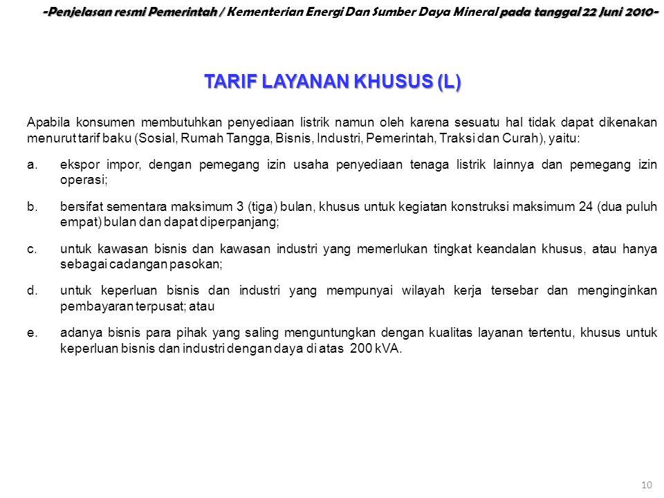 TARIF LAYANAN KHUSUS (L)