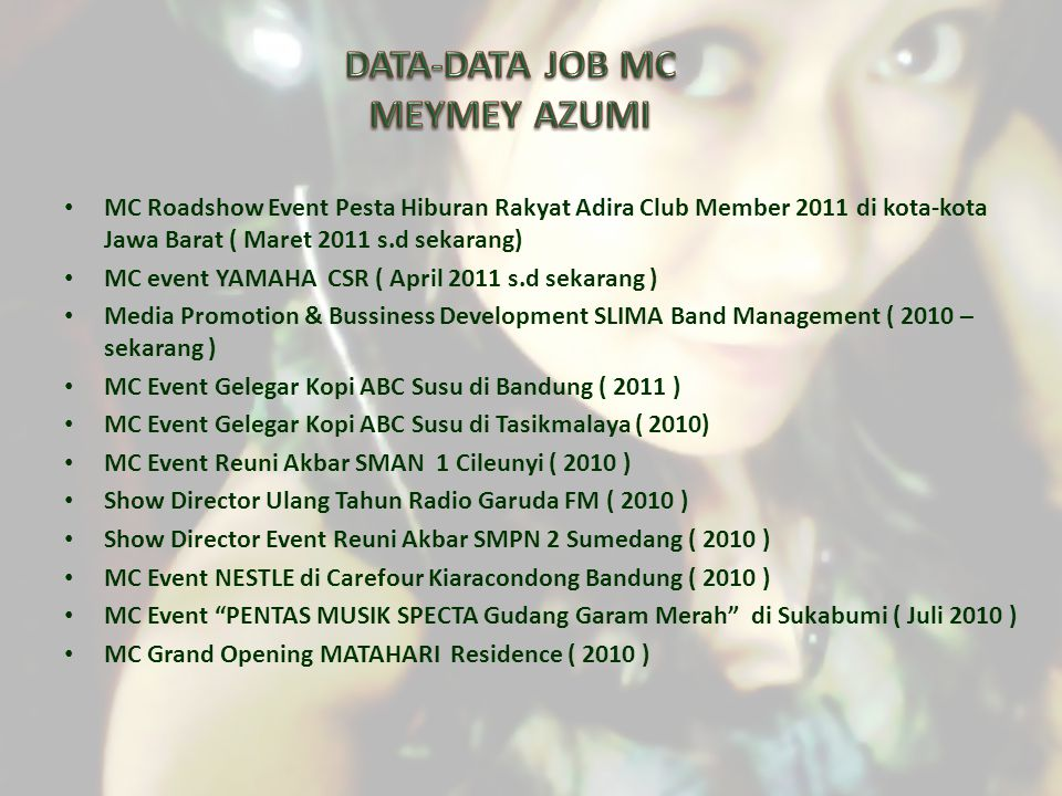 DATA-DATA JOB MC MEYMEY AZUMI